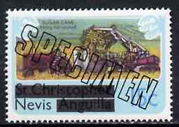 Nevis 1980 Sugar Cane Harvesting 15c from opt'd def set, additionally opt'd SPECIMEN, as SG 40 unmounted mint