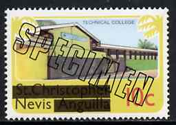 Nevis 1980 Technical College 10c from opt'd def set, additionally opt'd SPECIMEN, as SG 38 unmounted mint
