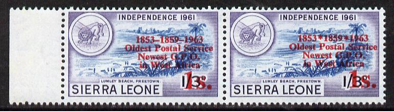 Sierra Leone 1963 Postal Commemoration 1s on 1s3d (Lumley Beach) marginal pair, one stamp with 'asterisks' error, unmounted mint, SG 276a