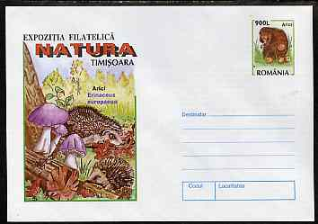 Rumania 1998 illustrated 900L postal stationery envelope featuring Hedgehog with Mushrooms, superb unused condition