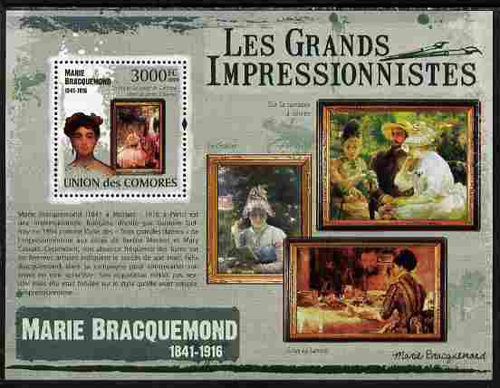 Comoro Islands 2009 The Impressionists - Marie Bracquemond perf souvenir sheet unmounted mint