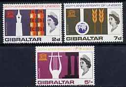 Gibraltar 1966 UNESCO set of 3 unmounted mint, SG 196-98*