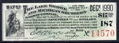 Cinderella - United States $17.50 Interest coupon for The Lake Shore & Michigan Southern Railway Company Gold Bond