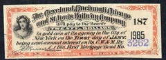 Cinderella - United States $20 Interest coupon for The Cleveland, Cincinnati, Chicago & St Louis Railway Company Mortgage Bond