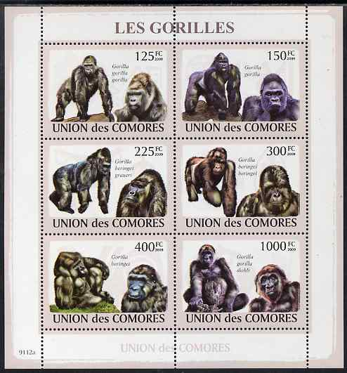 Comoro Islands 2009 Gorillas perf sheetlet containing 6 values unmounted mint