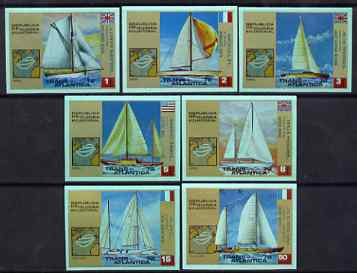Equatorial Guinea 1973 Atlantic Regatta imperf set of 7 on green paper complete unmounted mint, Mi A200-206*