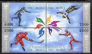 Belarus 1998 Nagano Winter Olympic games se-tenant block of 4 unmounted mint, stamps on sport    olympics    skiing     ice hockey