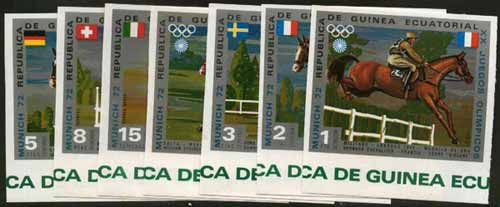 Equatorial Guinea 1972 Munich Olympics (5th series) 3-Day Eventing imperf set of 7 with silver background unmounted mint, Mi A126-32