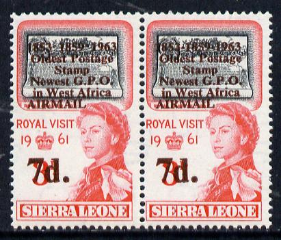 Sierra Leone 1963 Postal Commemoration 7d on 3d pair, one stamp with 'dots between dates' error, unmounted mint  SG 279b