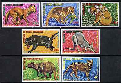 Equatorial Guinea 1974 Australian Animals imperf set of 7 on blue paper unmounted mint, Mi A467-73, stamps on animals     dingo     koala    bears     kangaroo