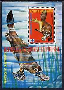 Equatorial Guinea 1974 Australian Animals perf m/sheet (Platypus) unmounted mint Mi BL 143