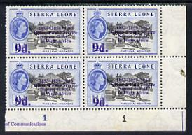 Sierra Leone 1963 Postal Commemoration 9d on 1.5d (Piassava Workers) plate block of 4, one stamp with 'asterisks' variety, unmounted mint, SG 275a