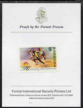 Barbuda 1976 Montreal Olympic Games imperf proof of UNISSUED 15c (Running) stamp size in full colour mounted on Format Proof card 96 mm x 127mm, superb & rare