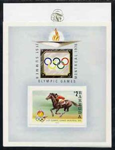 Barbuda 1976 Montreal Olympic Games imperf proof of UNISSUED $2 m/sheet (Show Jumping) stamp size in full colour affixed to m/sheet and mounted on Format Proof card 96 mm...