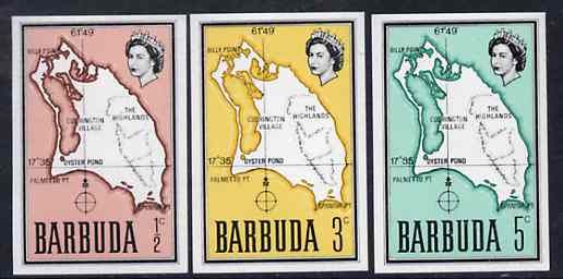 Barbuda 1968 Maps - Imperf proofs of three different values from the first QEII def set on ungummed paper, exceptionally rare