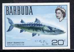 Barbuda 1968 imperf proof 20c (Barracuda) from the first QEII def set on ungummed paper, as SG 20a exceptionally rare