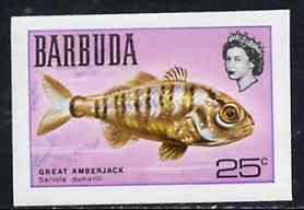 Barbuda 1968 imperf proof 25c (Great Amberjack) from the first QEII def set on ungummed paper, as SG 21 exceptionally rare