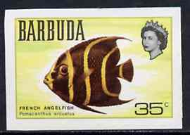 Barbuda 1968 imperf proof 35c (French Angelfish) from the first QEII def set on ungummed paper, as SG 22 exceptionally rare