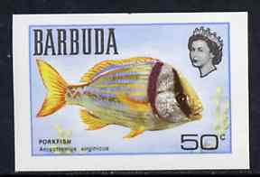 Barbuda 1968 imperf proof 50c (Porkfish) from the first QEII def set on ungummed paper, as SG 23 exceptionally rare
