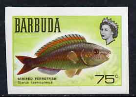 Barbuda 1968 imperf proof 75c (Parrotfish) from the first QEII def set on ungummed paper, as SG 24 exceptionally rare