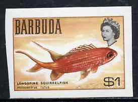 Barbuda 1968 imperf proof $1 (Squirrelfish) from the first QEII def set on ungummed paper, as SG 25 exceptionally rare