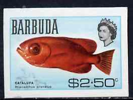 Barbuda 1968 imperf proof $2.50 (Bigeye) from the first QEII def set on ungummed paper, as SG 26 exceptionally rare