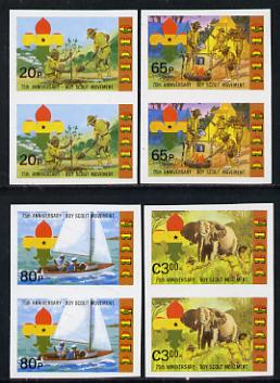 Ghana 1982 75th Anniversary of Scouting set of 4 Imperf pairs from limited printing unmounted mint (as SG 991-4)