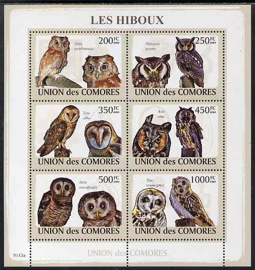 Comoro Islands 2009 Owls perf sheetlet containing 6 values unmounted mint