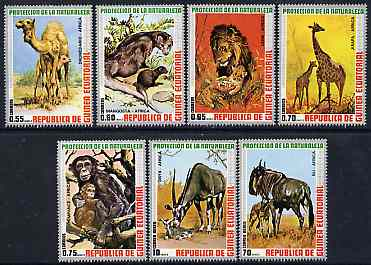Equatorial Guinea 1974 African Animals perf set of 7 unmounted mint, Mi 9475-81