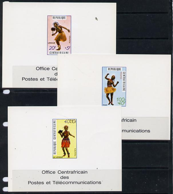 Central African Republic 1970 Traditional Dances 20f, 40f & 100f deluxe cards in full issued colours (as SG 234-6)