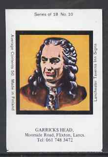 Match Box Labels - Garricks Head (No.10 from a series of 18 Pub signs) very fine unused condition (Lanchester Taverns)