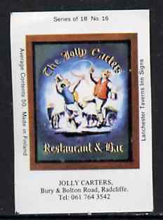 Match Box Labels - Jolly Carters (No.16 from a series of 18 Pub signs) very fine unused condition (Lanchester Taverns)