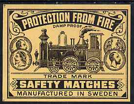 Match Box Labels -  Protection From Fire (Steam Engine) match box label (dozen outer size) Made in Sweden