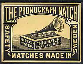 Match Box Labels -  The Phonograph match box label (dozen outer size) Made in Sweden
