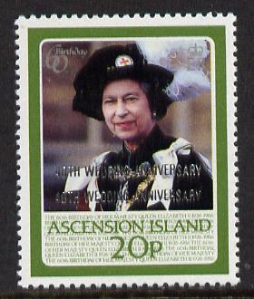 Ascension 1987 Ruby Wedding 20p with opt doubled unmounted mint, SG 449a*