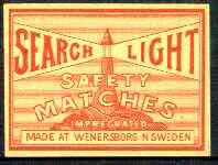Match Box Labels - Search Light (Lighthouse) made in Wenersborg, Sweden