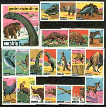 Match Box Labels -  Complete set of 20 + 1 Prehistoric Animals (Eurotrip produced in 1966)