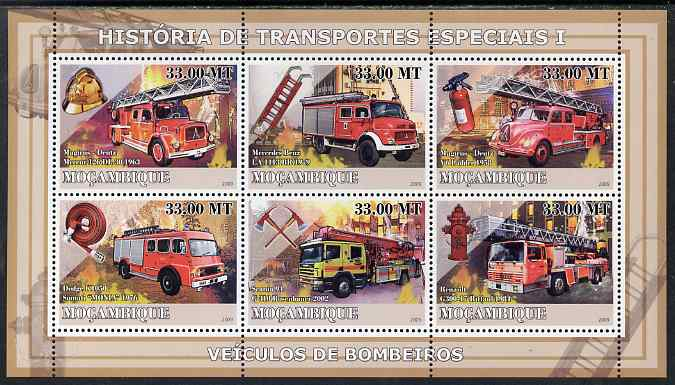 Mozambique 2009 History of Transport - Fire Engines perf sheetlet containing 6 values unmounted mint