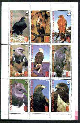 Karakalpakia Republic 1998 WWF - Birds of Prey perf sheetlet containing complete set of 9 unmounted mint