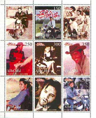 Abkhazia 1999 Elvis Presley perf sheetlet containing complete set of 9 unmounted mint, stamps on elvis, stamps on pop, stamps on films, stamps on motorbikes