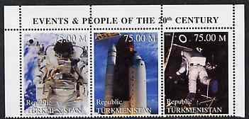 Turkmenistan 1999 Space -3 values from Events & People of the 20th Century unmounted mint