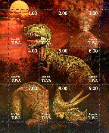 Touva 1999 Dinosaurs composite sheetlet containing complete set of 9 unmounted mint