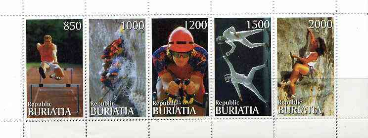Buriatia Republic 1999 Sports & Pastimes perf sheetlet containing complete set of 5 unmounted mint