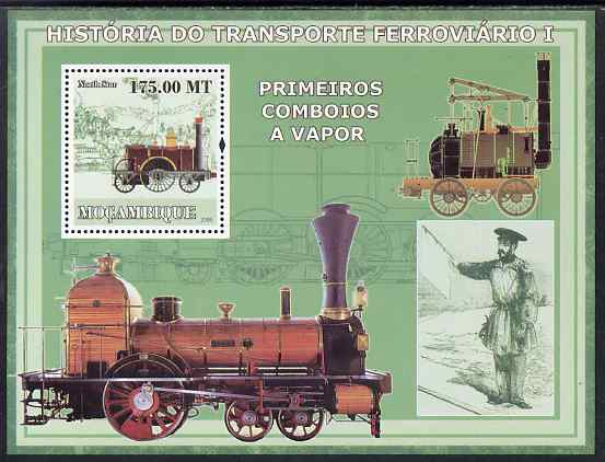 Mozambique 2009 History of Transport - Railways #01 perf m/sheet unmounted mint