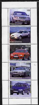 Turkmenistan 1998 Modern Cars perf sheetlet containing complete set of 5 unmounted mint