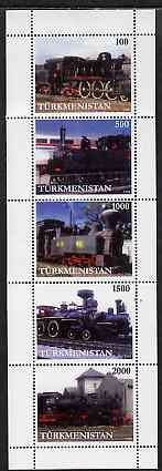 Turkmenistan 1998 Steam Locomotives perf sheetlet containing complete set of 5 unmounted mint, stamps on railways