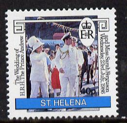 St Helena 1986 Royal Wedding 40p with wmk inverted unmounted mint (SG 487Ei)