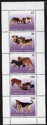 Tadjikistan 1998 Dogs perf sheetlet containing complete set of 5 unmounted mint