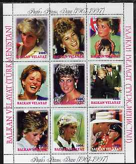 Turkmenistan (Balkan Velayat) 1998 Diana, The People's Princess perf sheetlet containing complete set of 9 unmounted mint