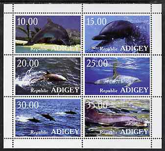 Adigey Republic 1999 Whales & Dolphins perf sheetlet containing complete set of 6 unmounted mint, stamps on whales     dolphins